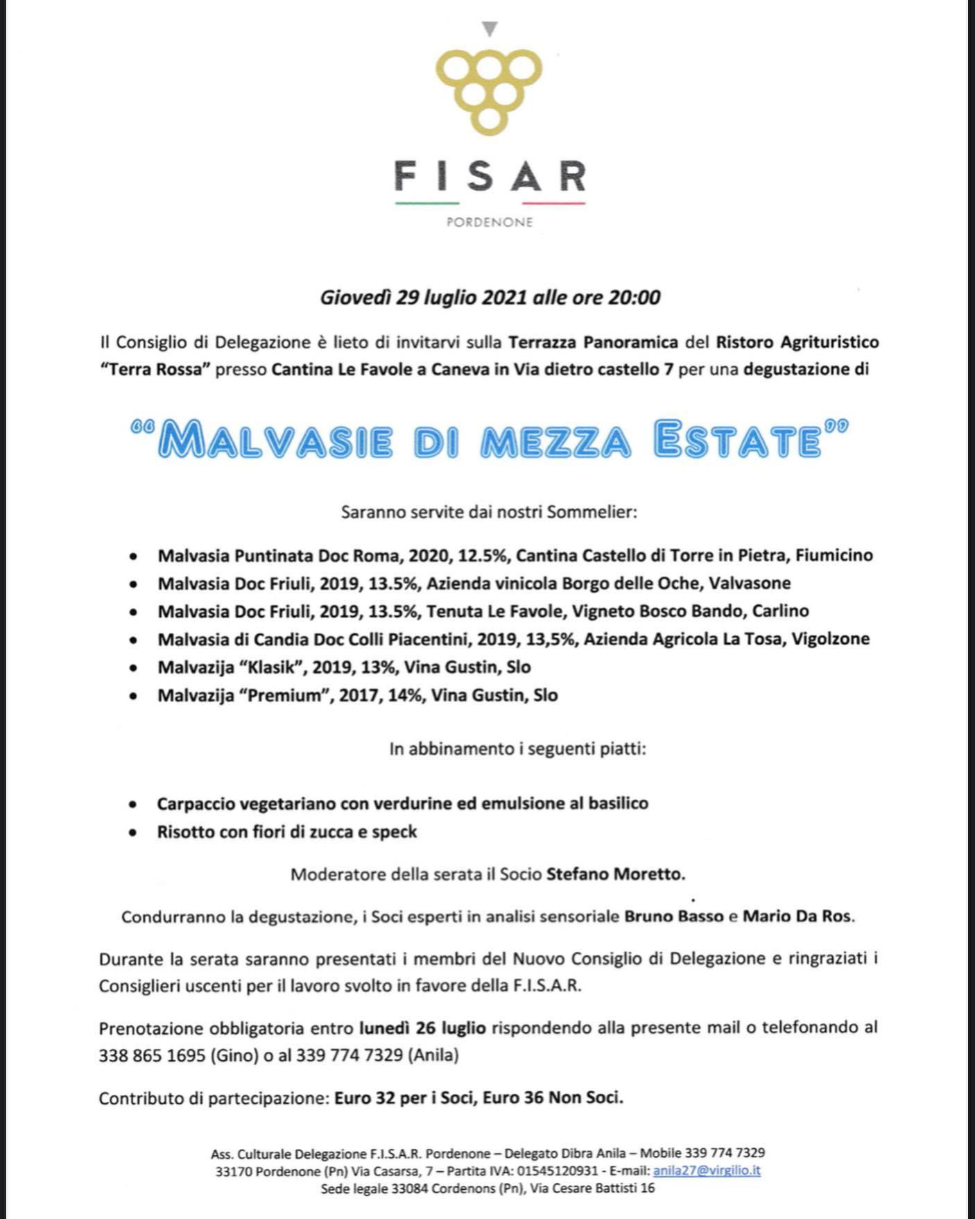 Evento Fisar Malvasie di Mezza Estate TerraRossa Caneva